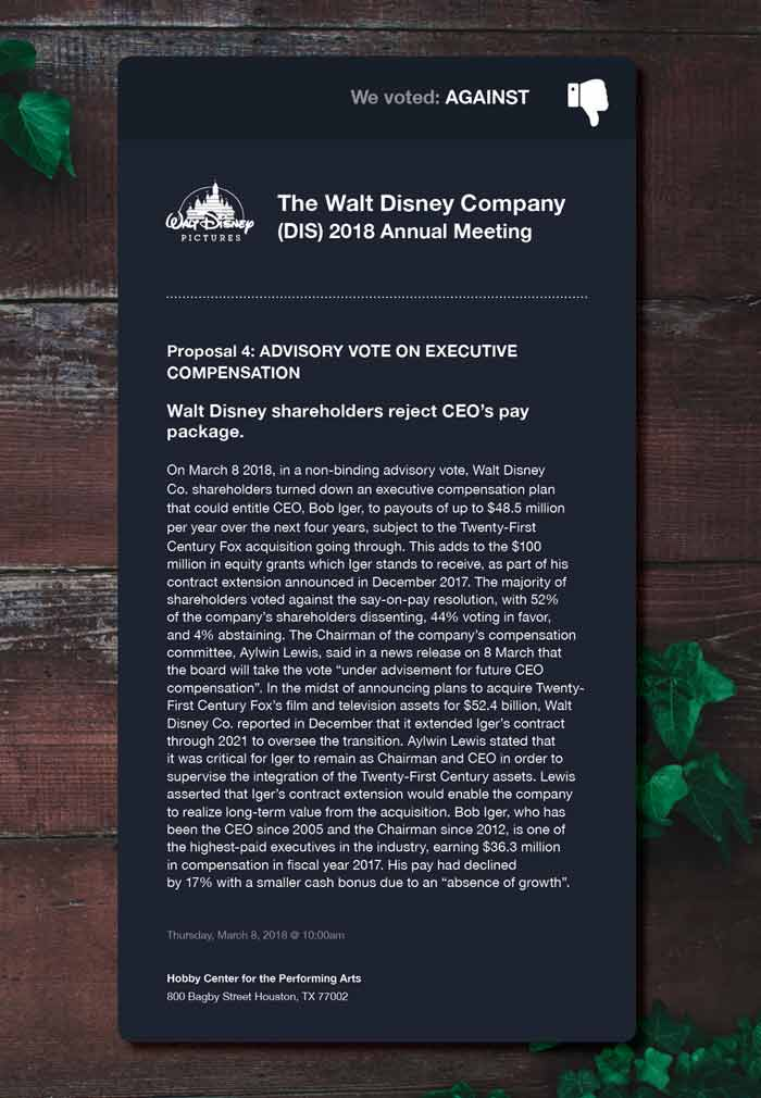 We voted AGAINST an executive compensation plan that could entitle Walt Disney CEO Bob Iger to payouts up to $48.5 million per year.